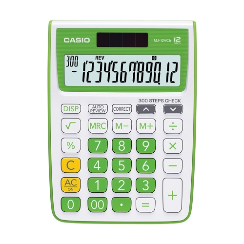 Casio MJ 12VCB-GN Solar and Battery Powered Basic Calculator