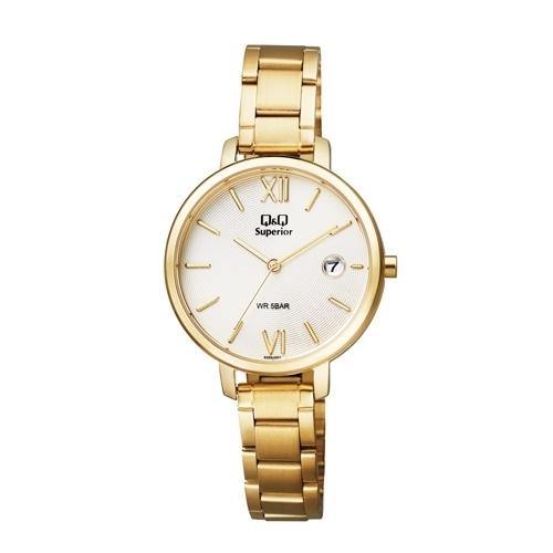 Q&Q S325J001Y Superior date steel watch for Ladies