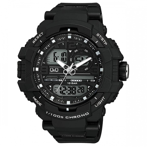 Q&Q GW86J001Y Analog Digital Combination Sport Watch for Men-Black