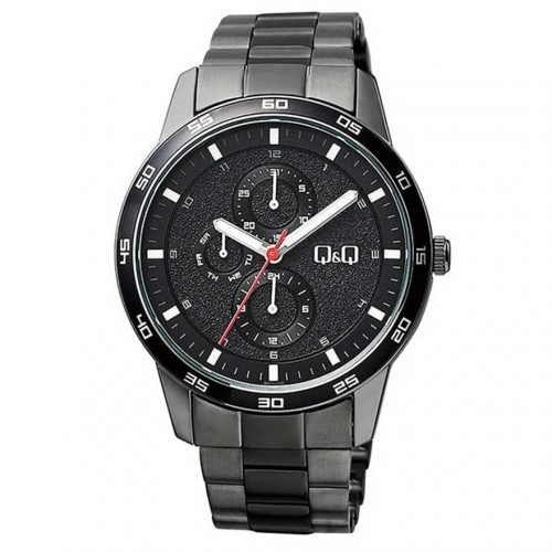 Q&Q AA38J402Y Black Chronograph Wrist Watch for Men